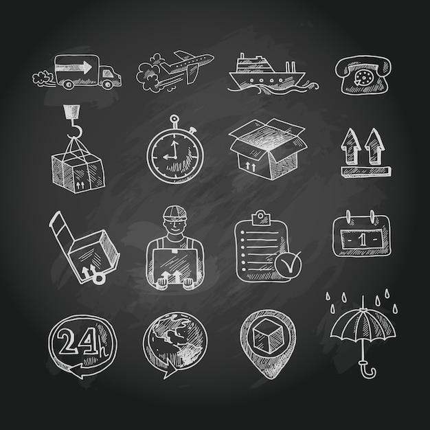 Logistic chalk board icons set Free Vector