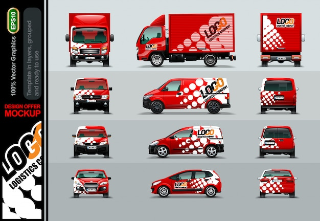Logistic company. layout offers for your business. Premium Vector