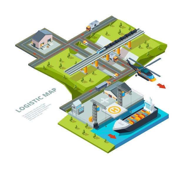 Логистическая концепция. дорожная карта указывает морские перевозки железными дорогами и автомобильными грузовыми перевозками логистический фон изометрии. доставка грузов, грузовик и логистика морская иллюстрация Premium векторы