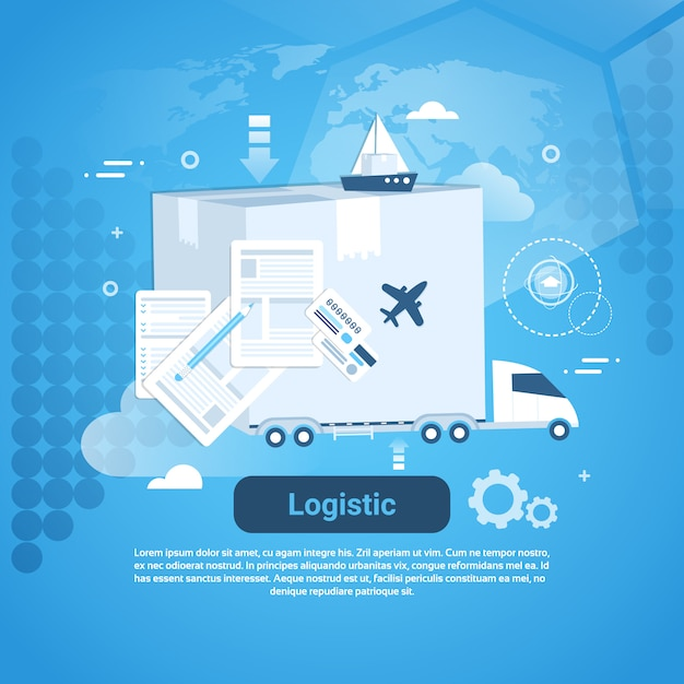 Logistic delivery business template web banner with copy space Premium Vector