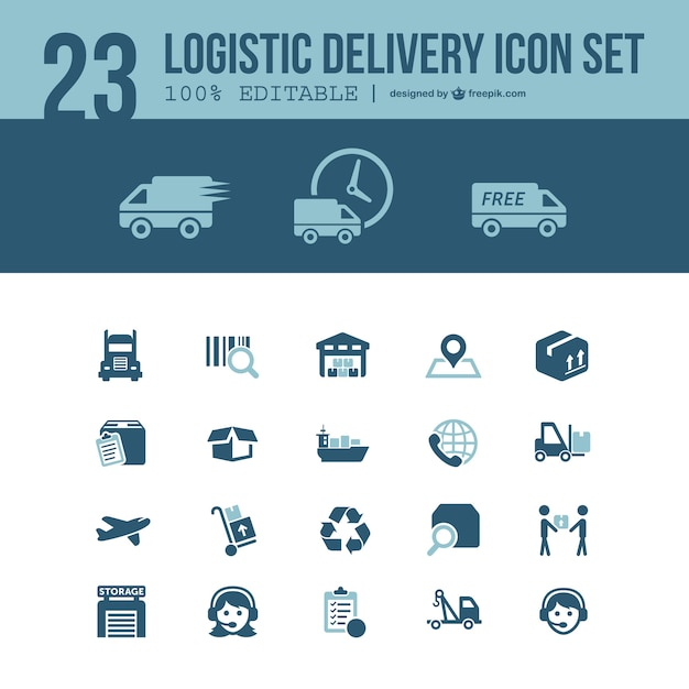 Logistic delivery icons set Free Vector