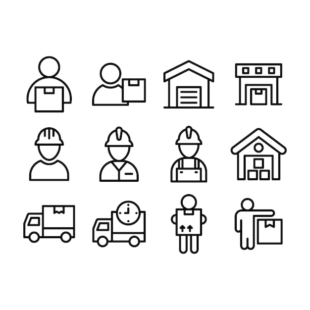 Logistic delivery service icons Premium Vector