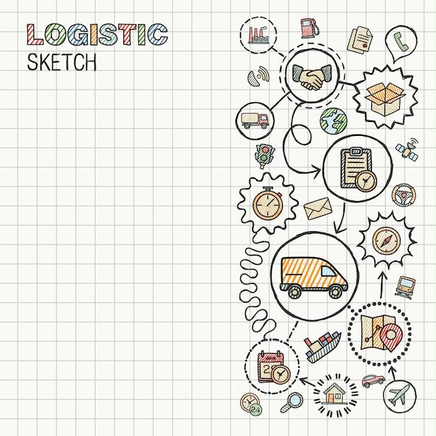 물류 손 종이에 설정 통합 된 아이콘을 그립니다. 다채로운 스케치 Infographic 그림입니다. 낙서 색 그림을 연결합니다. 유통, 운송, 운송, 서비스 대화식 개념 프리미엄 벡터