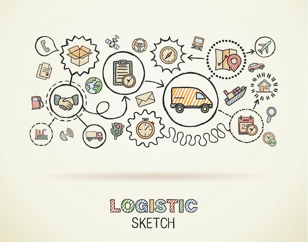 물류 손 종이에 설정 통합 된 아이콘을 그립니다. 다채로운 스케치 Infographic 그림입니다. 연결된 낙서 컬러 픽토그램, 유통, 운송, 운송, 서비스 대화 형 개념 프리미엄 벡터