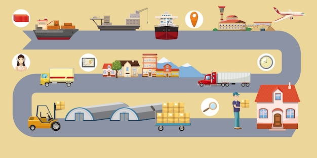 Logistic horizontal background route, cartoon style Premium Vector