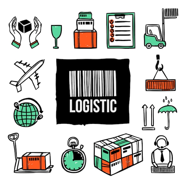 Logistic icon set Free Vector