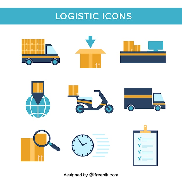 Logistic icons collection Free Vector