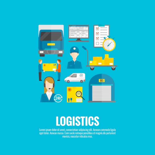 Logistic icons flat Free Vector