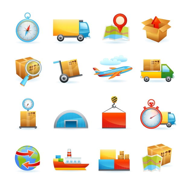 Logistic icons set Free Vector