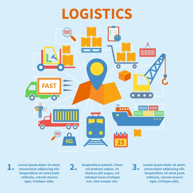 Logistic infographic flat icons set with map pin vector illustration Free Vector