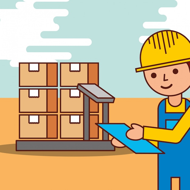 Logistic man with cardboard boxes in scale Free Vector