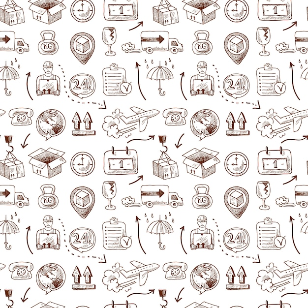 Logistic seamless pattern, doodle style Free Vector