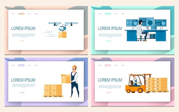 Logistic service set Premium Vector