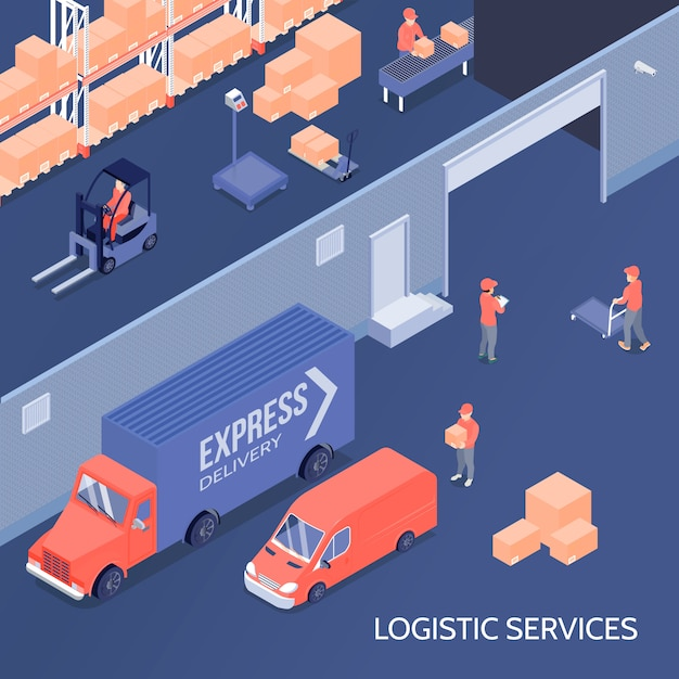 Logistic services isometric illustration Free Vector