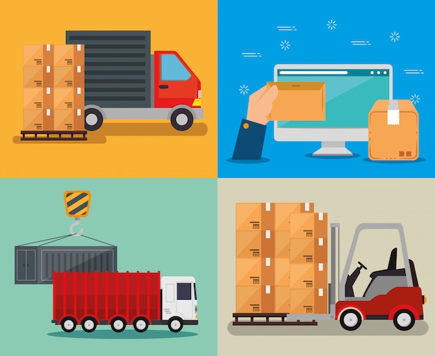 Logistic services with computer Free Vector