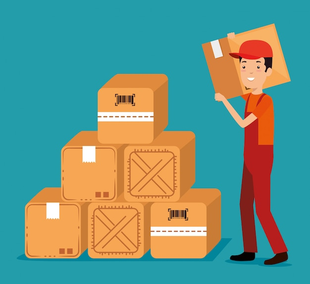 Logistic services with delivery worker Free Vector