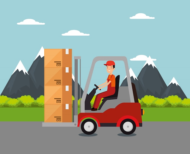Logistic services with forklift and worker Free Vector