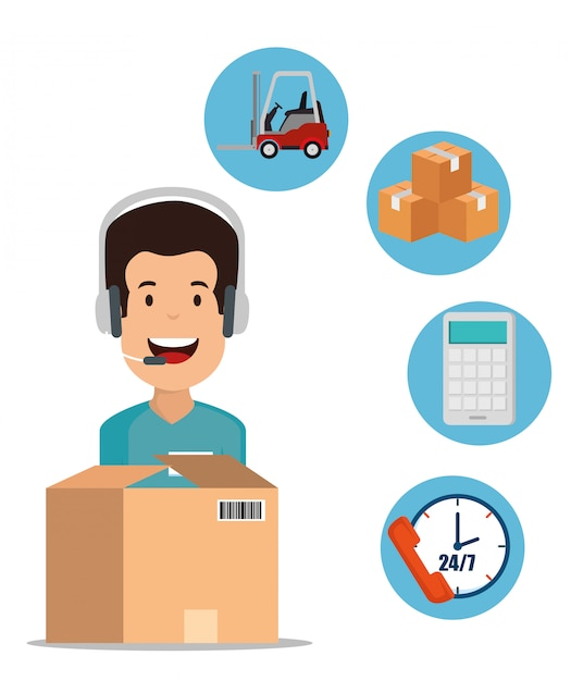 Logistic services with support agent Free Vector