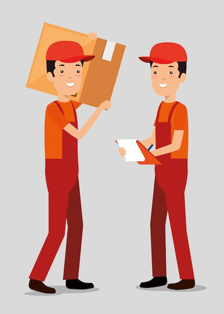 Logistic services with team delivery workers Free Vector