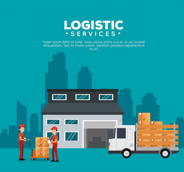 Logistic services with warehouse building Free Vector