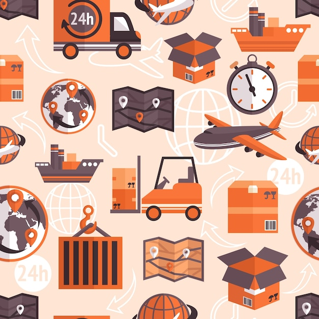 Logistic shipping freight service seamless pattern with globe and arrows on background vector illustration. Free Vector