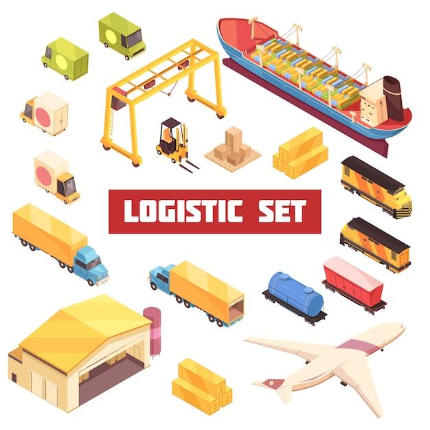 Logistic transportation isometric elements set Free Vector