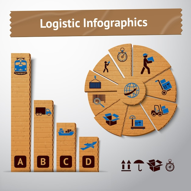Logistic transportation service cardboard infographics elements for charts and graphs vector illustration Free Vector