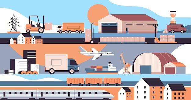 Логистические перевозки грузовики корабль самолет поезд склад грузовые символы концепция службы экспресс-доставки Premium векторы
