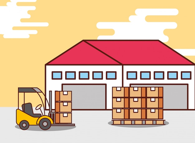 Logistic warehouse cardboard boxes and forklift machine Free Vector