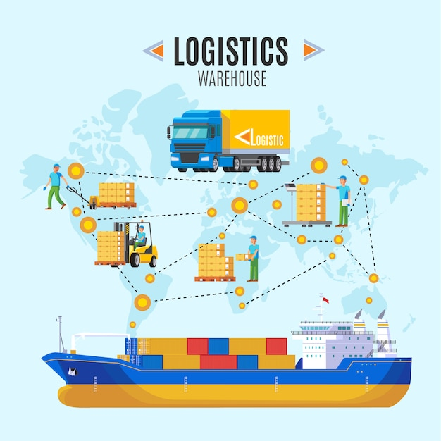 Logistic warehouse illustration Free Vector
