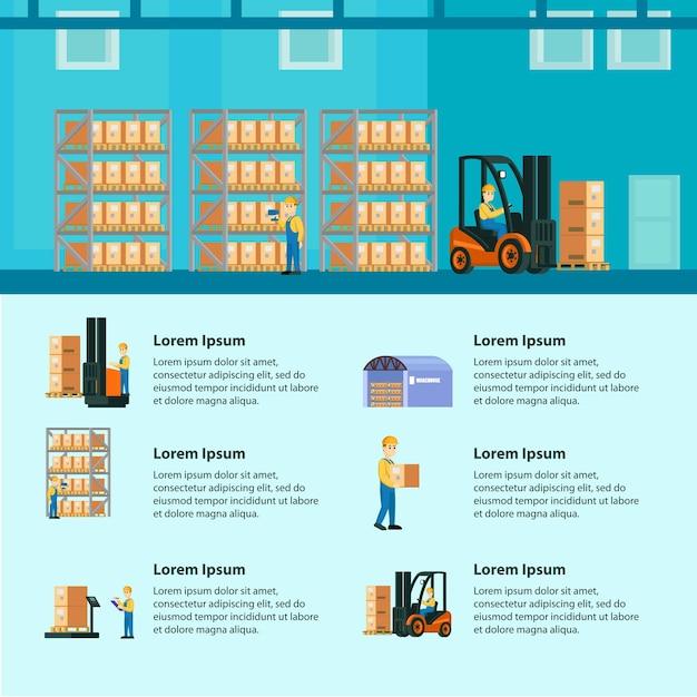 Инфографика логистического склада Бесплатные векторы