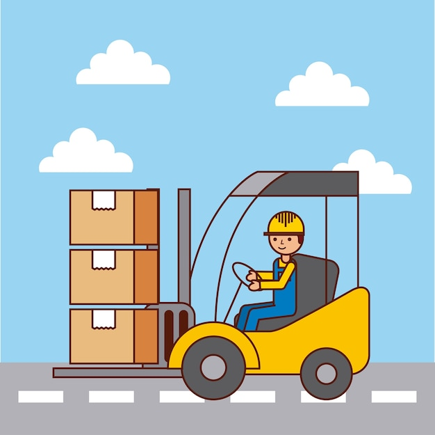 Logistic Worker Driver Forklift Loading Cardboard Boxes By