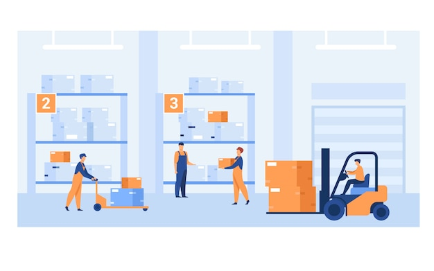 Logistic workers carrying boxes with loaders Free Vector