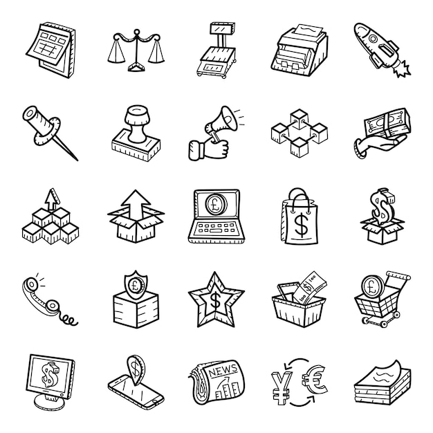 Logistics and advertisement hand drawn icons pack Premium Vector