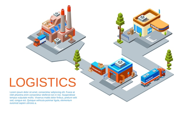 Logistics and transportation business concept.\ Route from goods manufacturing plant