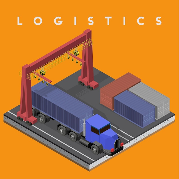Logistics business industrial isolated icon on background Free Vector