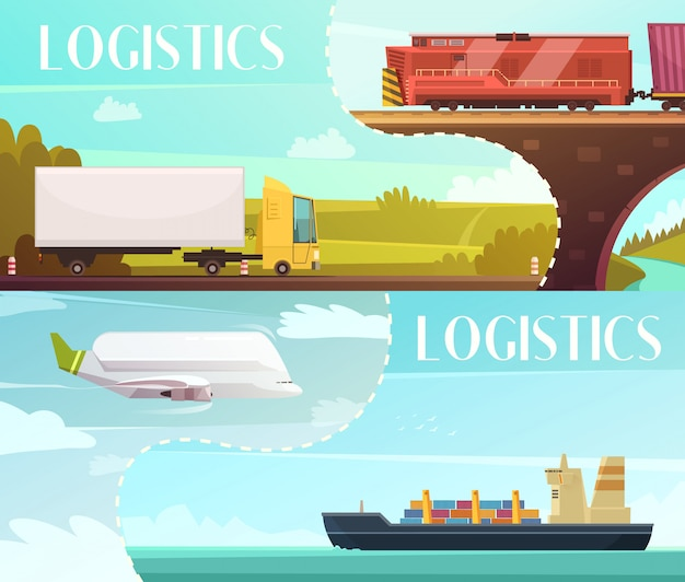 Logistics cartoon horizontal banners set with delivery symbols isolated vector illustration Free Vector