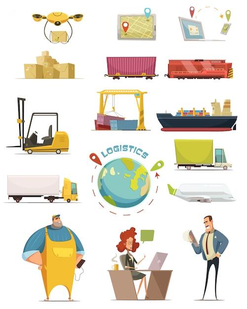 Logistics cartoon icons set with cargo symbols isolated vector illustration Free Vector