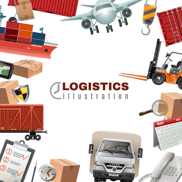 Logistics colorful template Free Vector