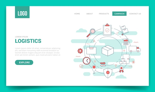 Logistics delivery concept with circle icon for website template or landing page Premium Vector