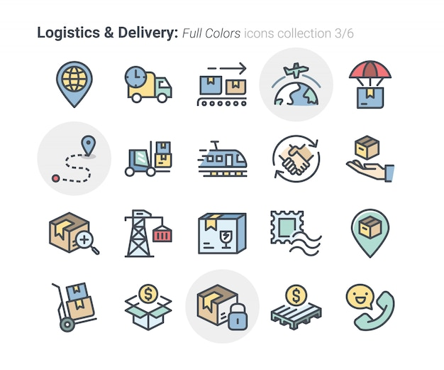 Logistics & delivery icons collection Premium Vector