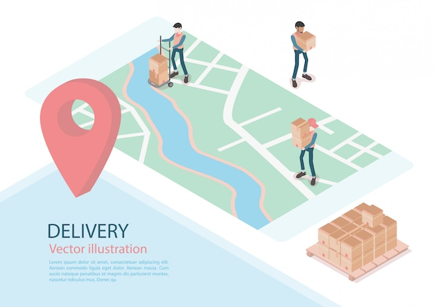 Logistics and delivery infographics. isometric, truck, drone and delivery man. vector illustration Premium Vector