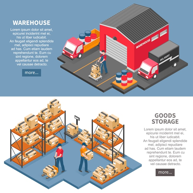 Logistics and delivery isometric banners Free Vector