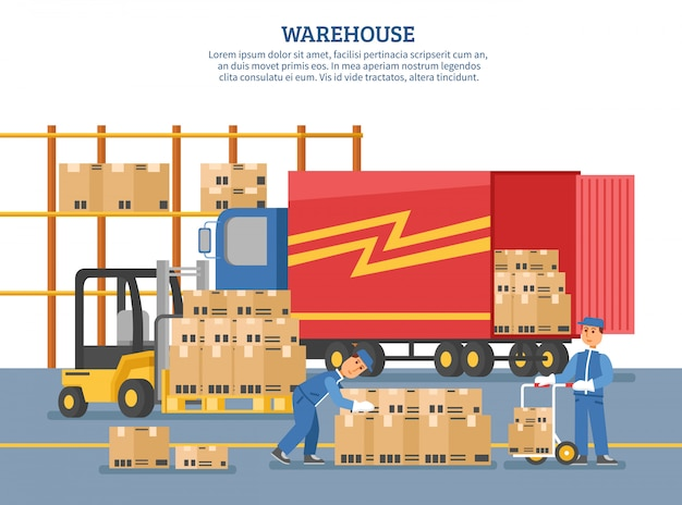 Logistics delivery poster Free Vector