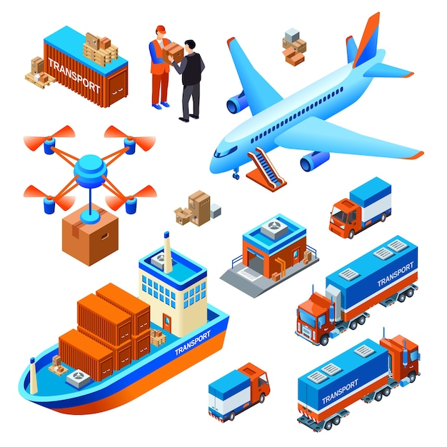 Logistics delivery transport cargo ship or freight airplane and drone delivering Free Vector
