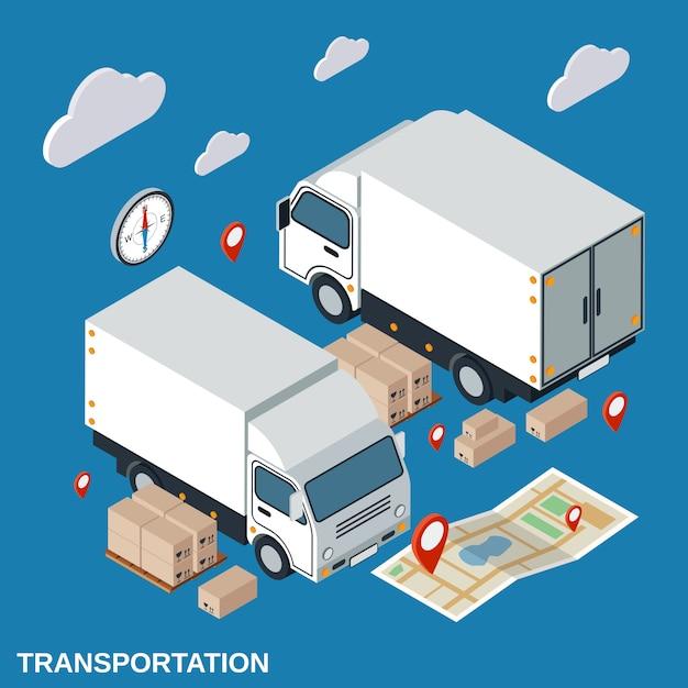 Logistics flat isometric vector concept illustration Premium Vector