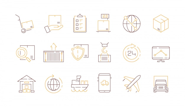 Logistics icon collection Premium Vector