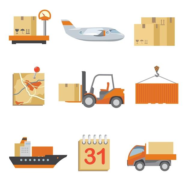 ヴィンテージフラットスタイルで設定されたロジスティクスアイコン。トラックと配送、貨物と輸送、箱の配達。 無料ベクター
