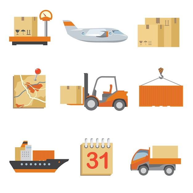 Logistics icons set in vintage flat style. truck and shipping, cargo and transport, box delivery. Free Vector