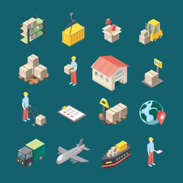 Logistics icons set Free Vector
